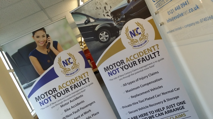Pop up Banner for a Claims company based in Birmingham