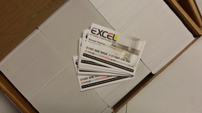 Business cards for a kitchen manufacturer based in birmingham big front side of the b card for excel kitchens and wardrobes reheart Gallery