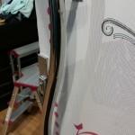 Detail cuts around the door handles