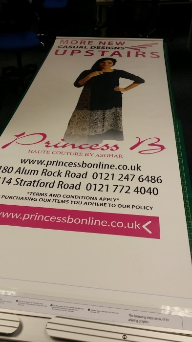 Pop up banner for retail shop