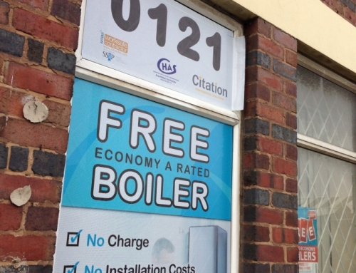 Window graphics for an energy saving firm based in Birmingham (one way vision)