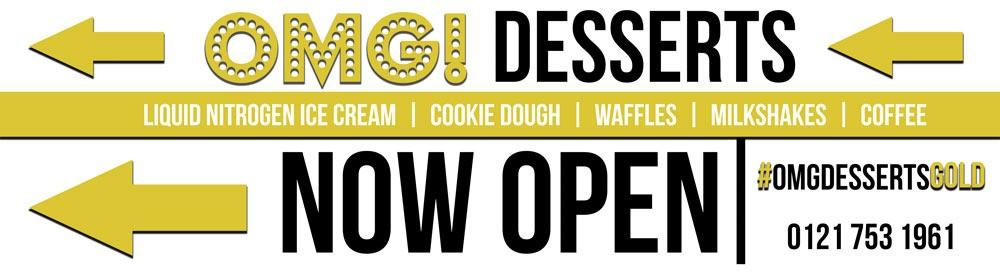 Omg Desserts Now Open 15x4 Feet Pvc Outdoor Banner Big