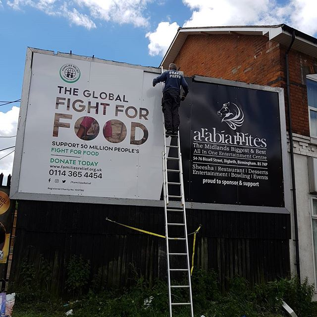 Billboard 20x10 Foot In Size Being Fitted