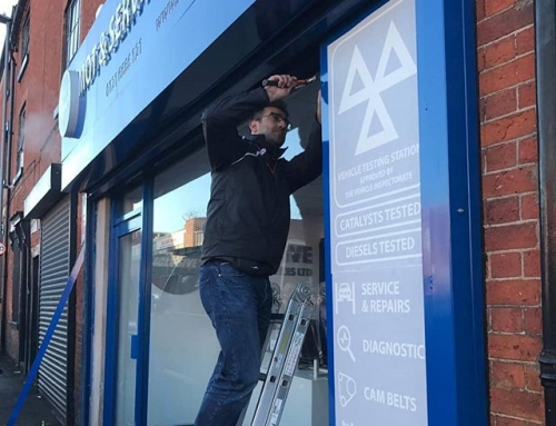 Applying signs to this mot shop.To place your order whatsapp me: Mak of Big Print Birmingham on 07702153393Or use this whatsapp link from your mobile:https://wa.me/447702153393#bigprintbirmingham#printingbirmingham #printshop#shopsigns#largeformatprinting#posters#cards #shopsigns