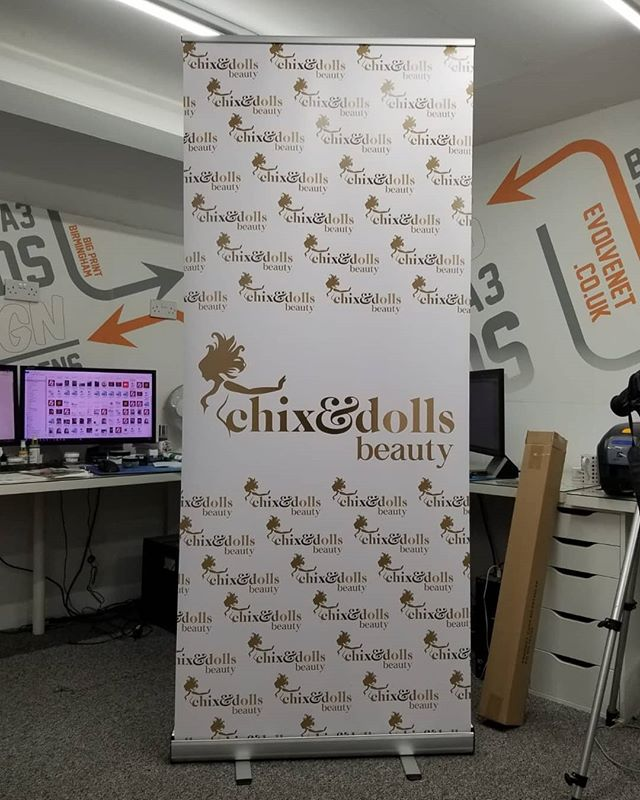 850mm wide Roller Banner for @chixanddollsbeauty To place your order whatsapp me: Mak of Big Print Birmingham on 07702153393 Or use this whatsapp link from your mobile: https://wa.me/447702153393