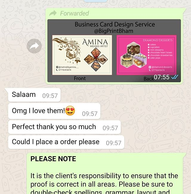 Another happy customer.  Business card order, design and print for :  @mehndibyamina.__ @diamond.desserts Please whatsapp me : https://wa.me/447702153393