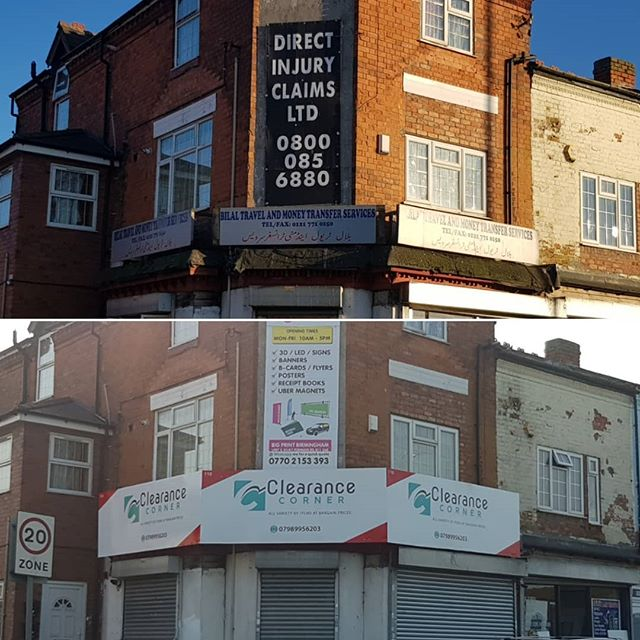 Before and after of a signboard make over. To place your order whatsapp me: Mak of Big Print Birmingham on 07702153393 Or use this whatsapp link from your mobile: https://wa.me/447702153393