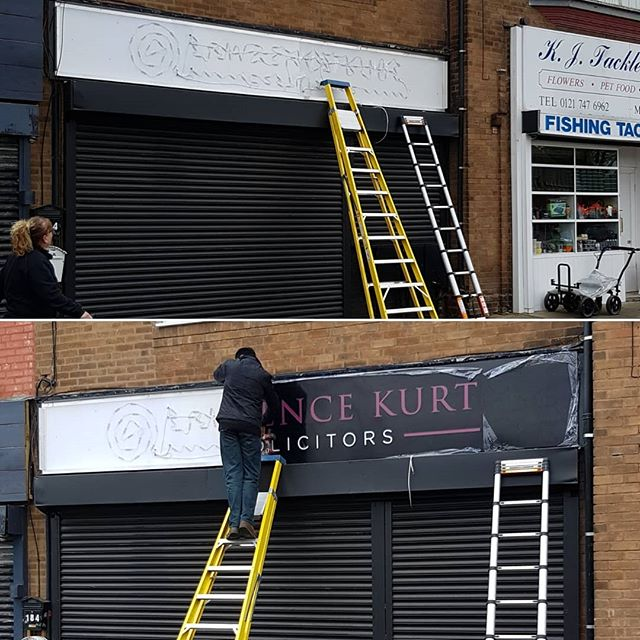 Sign being fitted. To place your order whatsapp me: Mak of Big Print Birmingham on 07702153393 Or use this whatsapp link from your mobile: https://wa.me/447702153393