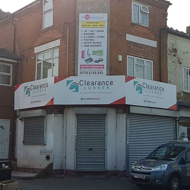 The after photo of clearance corner based on Stoney Lane. The signboard looks great. Double in size. You can't miss it. To place your order whatsapp me: Mak of Big Print Birmingham on 07702153393 Or use this whatsapp link from your mobile: https://wa.me/447702153393