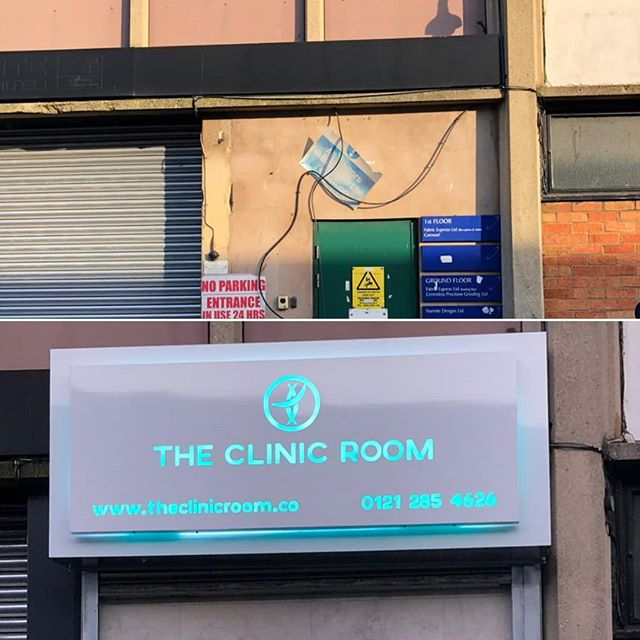 Before and After @theclinicroom Another successful Sign Board build and installation To place your order whatsapp me: Mak of Big Print Birmingham on 07702153393
