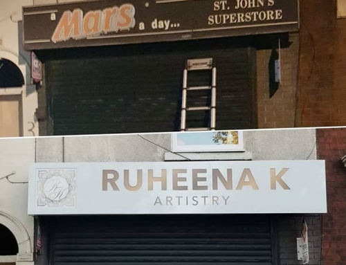 Before and After, a new signboard gone up for @ruheena_k_artistry To place your order whatsapp me: Mak of Big Print Birmingham on 07702153393