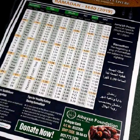 Printing Ramadan Calendars. To place your order whatsapp me: Mak of Big Print Birmingham on 07702153393