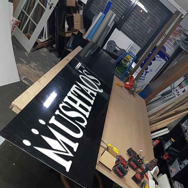 18 foot sign board for Mushtaqs sweet centre opening on Startford Road. To place your order whatsapp me: Mak of Big Print Birmingham on 07702153393