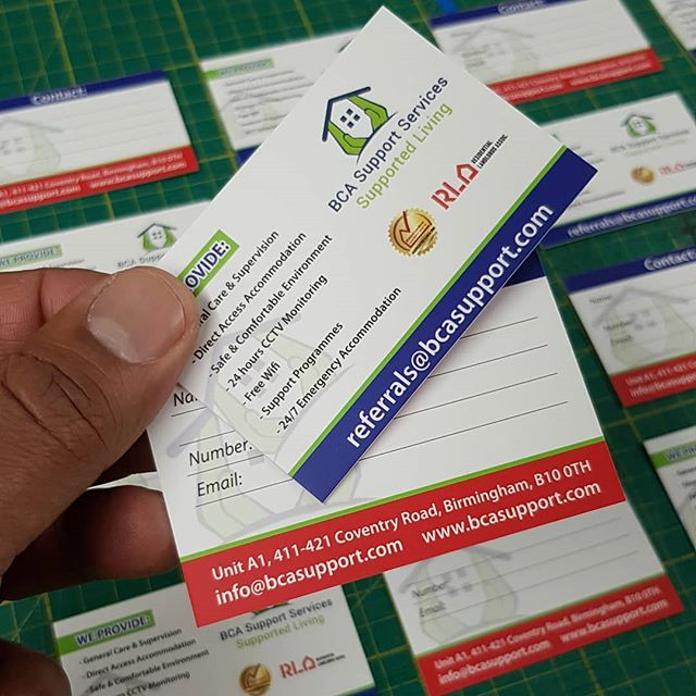 Quality cards printed for BCA support services To place your order whatsapp me: Mak of Big Print Birmingham on 07702153393