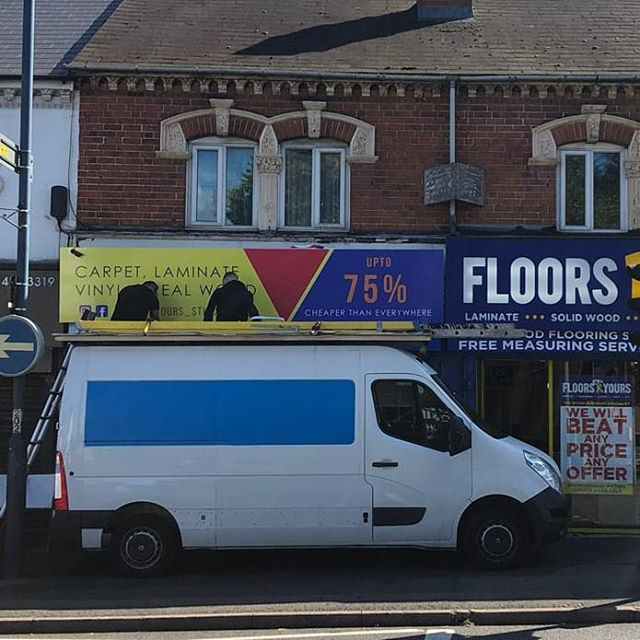 Fitting @floorsryours_stirchley signboard To place your order whatsapp me: Mak of Big Print Birmingham on 07702153393
