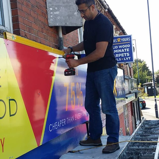 Signboard going up. @floorsryours_stirchley To place your order whatsapp me: Mak of Big Print Birmingham on 07702153393