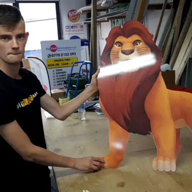 We had simba of lion King in the workshop today. To place your order whatsapp me: Mak of Big Print Birmingham on 07702153393