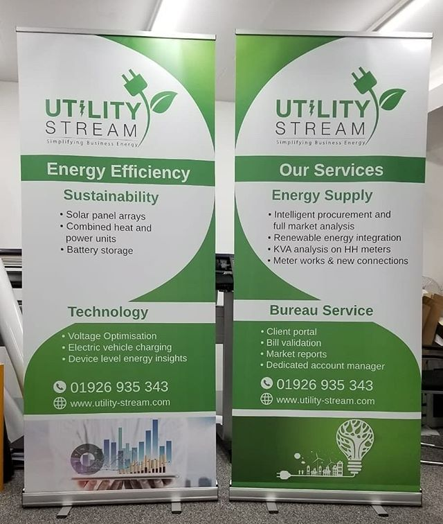 Roller banner design and print for Utility Stream To order yours whatsapp Mak on 07702153393