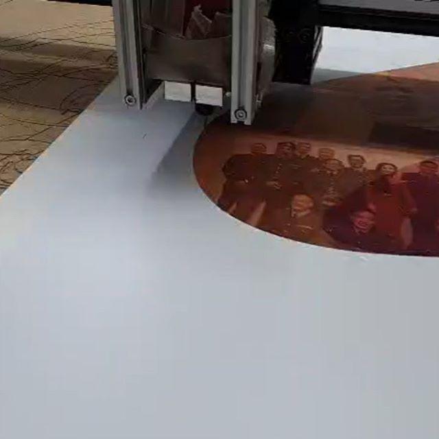 Using the cnc machine to precision cut this logo Big Print Birmingham 07702153393