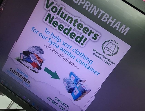 @albayan_foundation are looking for volunteers to help sort much needed clothes. These will be shipped to Syria. Contact Ashraf on 07485 120553
