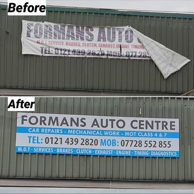 Before and after PVC banner converted to an ACM panel sign. Solid and should last for ever. To place an order If at all possible PLEASE whatsapp me on 07702153393