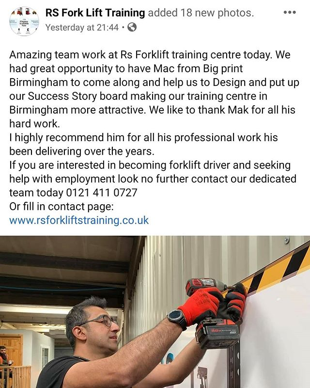 Signs fitted for @rsforkliftstraining To place an order If at all possible PLEASE whatsapp me on 07702153393