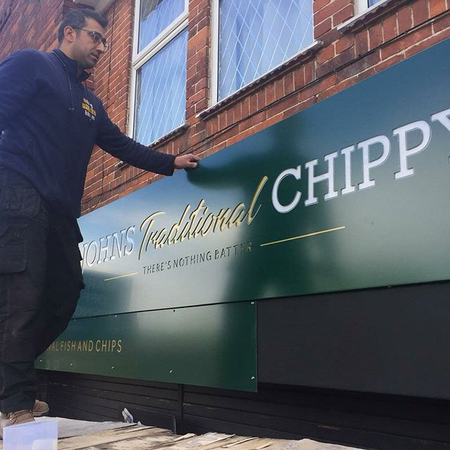 John's traditional chippy signboard gone up. To place an order for a signboard If at all possible PLEASE whatsapp me on 07702153393