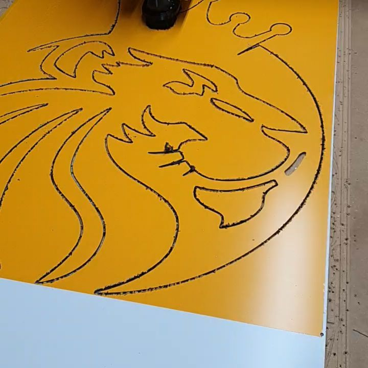 Cutting a logo out of dibond. What do you think?